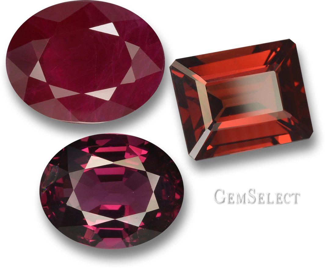 Red: Warmth, passion, desire, vigor, courage and radiance. Ruby, rhodolite garnet and pyrope garnet.