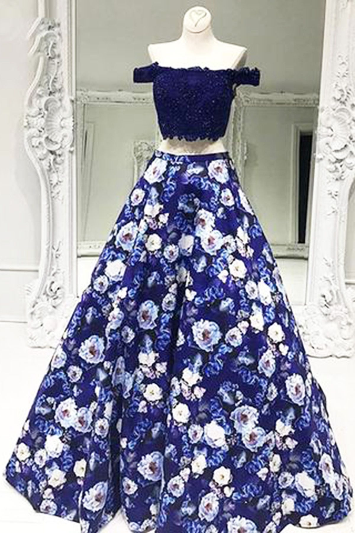 Navy blue lace top flowery satin two pieces prom dress off the