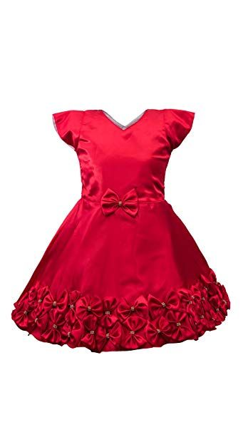 e4c20caffc82 My Lil Princess Baby Girls Birthday Party wear Frock Dress  Red ...