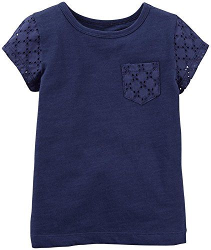 Carters Baby Girls Lace Pocket Tee Baby  Navy  3 Months -- More info could be found at the image url.