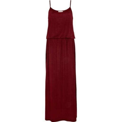 Red waisted cami maxi dress