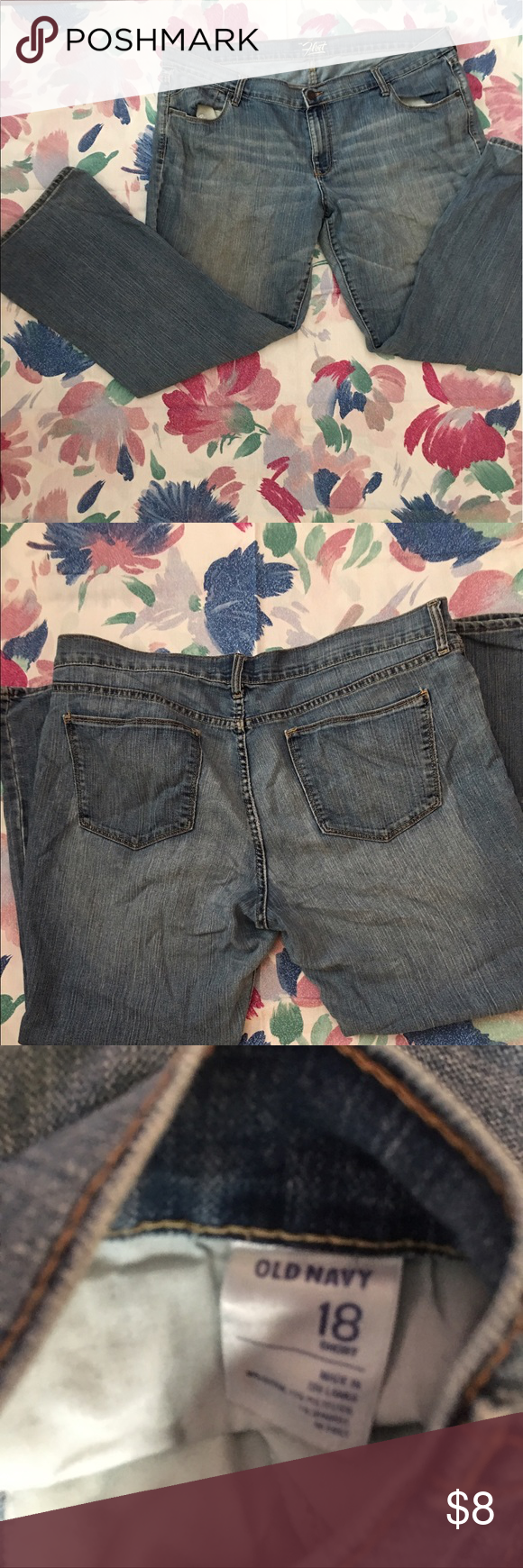 UEC Flirt Old Navy blue jeans size 18 short Old Navy stone washed blue jeans in excellent condition size 18 Short. Made of 80% cotton 13% polyester and 7% spandex. Soft and comfy! Wash and wear. Any questions or offers just ask. I'm clearing out my closet! Old Navy Jeans Flare & Wide Leg