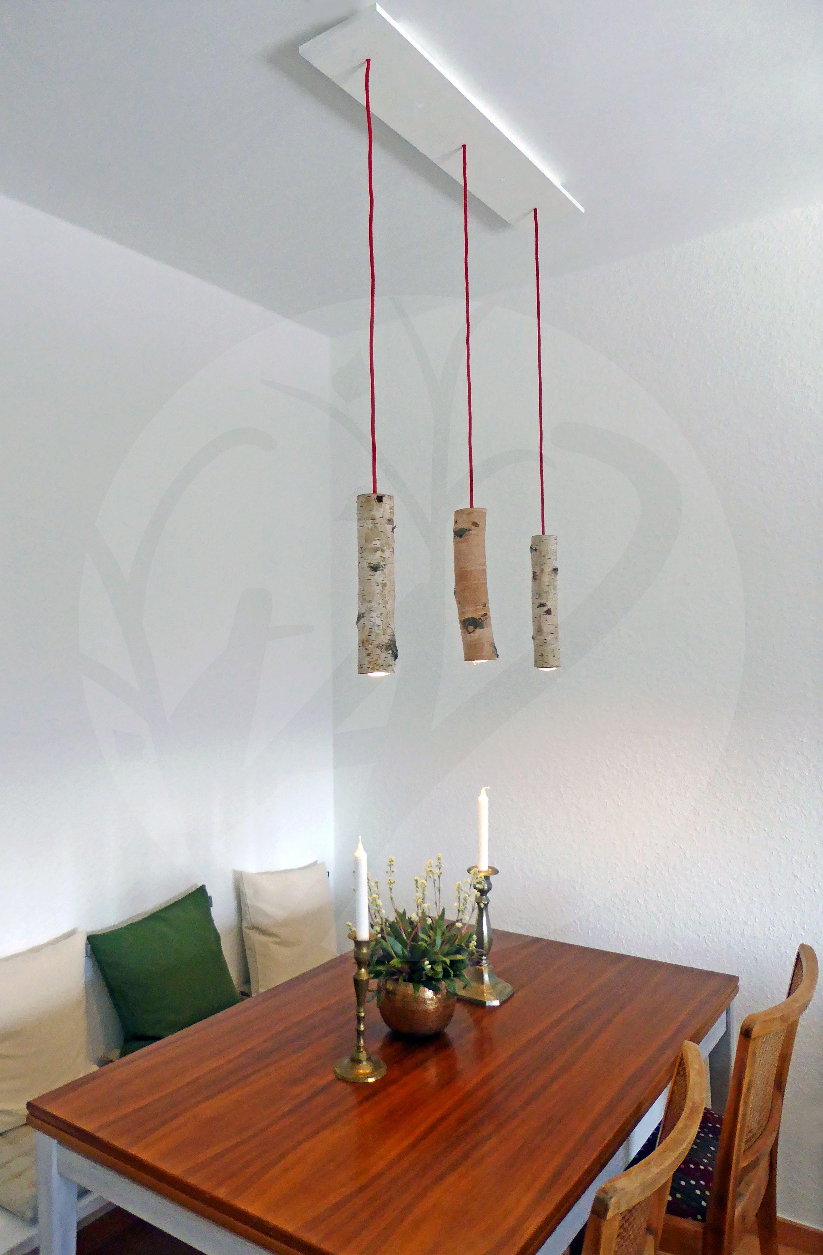 leuchte birkenlichtung handgefertigte pendelleuchte aus naturbelassenem birkenast mit textilem. Black Bedroom Furniture Sets. Home Design Ideas
