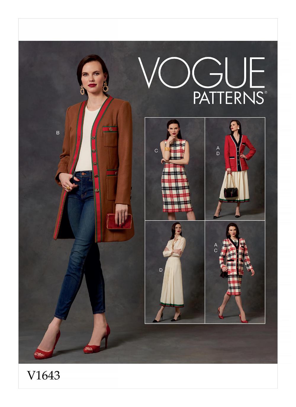V1643 Misses Misses Petite Jacket Dress And Skirt Sewing