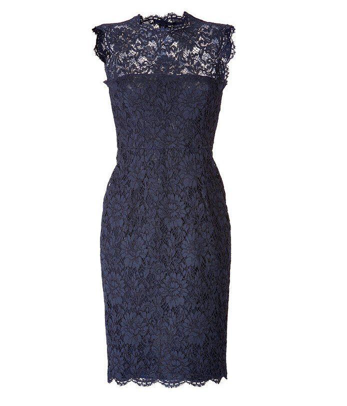 Valentino Blue Lace Overlay Sheath Dress — $3,355 — Valentino\'s lace ...