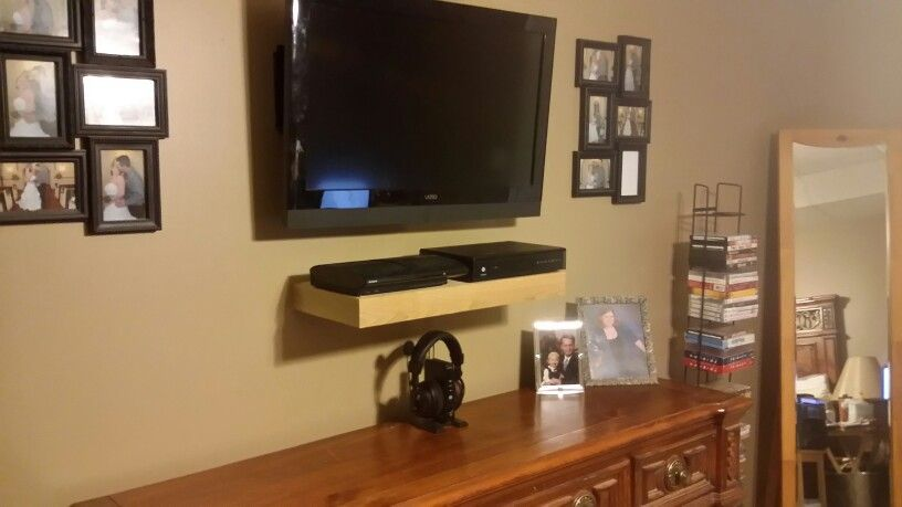 Floating Oak Shelf For A Playstation And Cable Box Cable Box