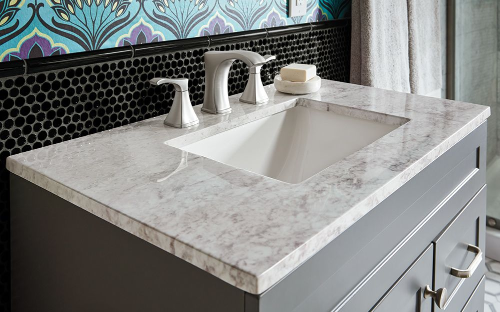 A Gray And White Marble Bath Vanity Top