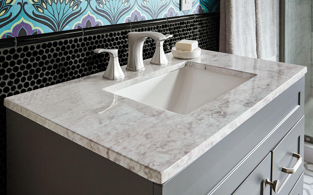A Gray And White Marble Bath Vanity Top Choosing A Bathroom