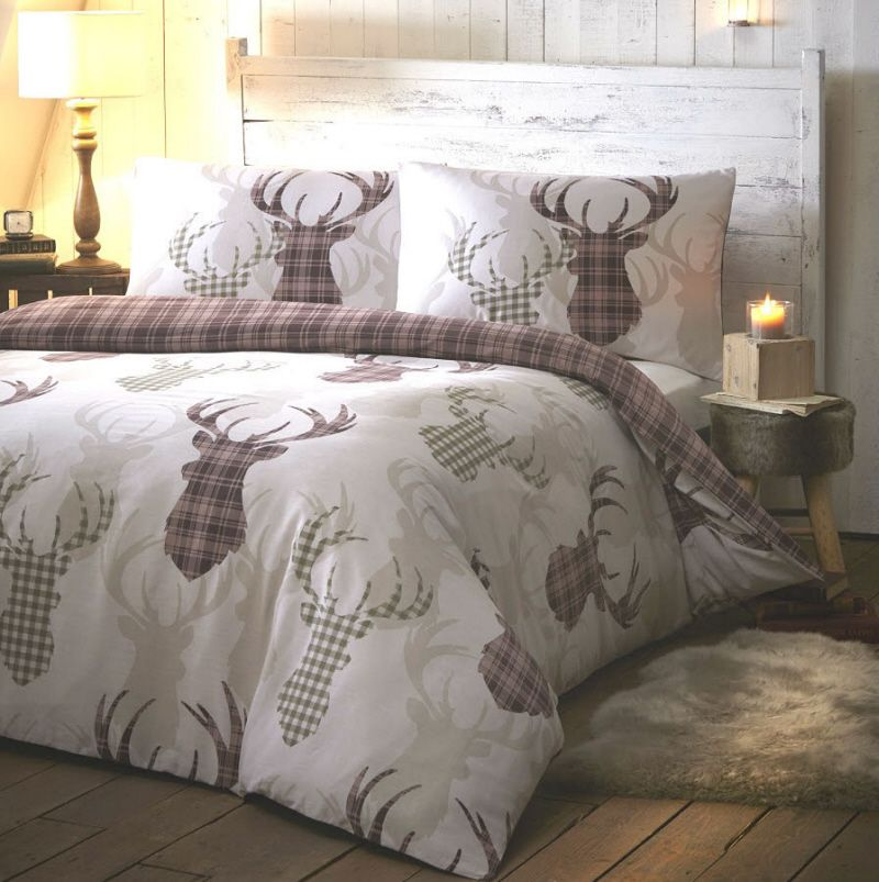 Tartan Stag Natural Quilt Cover Sets Duvet Covers
