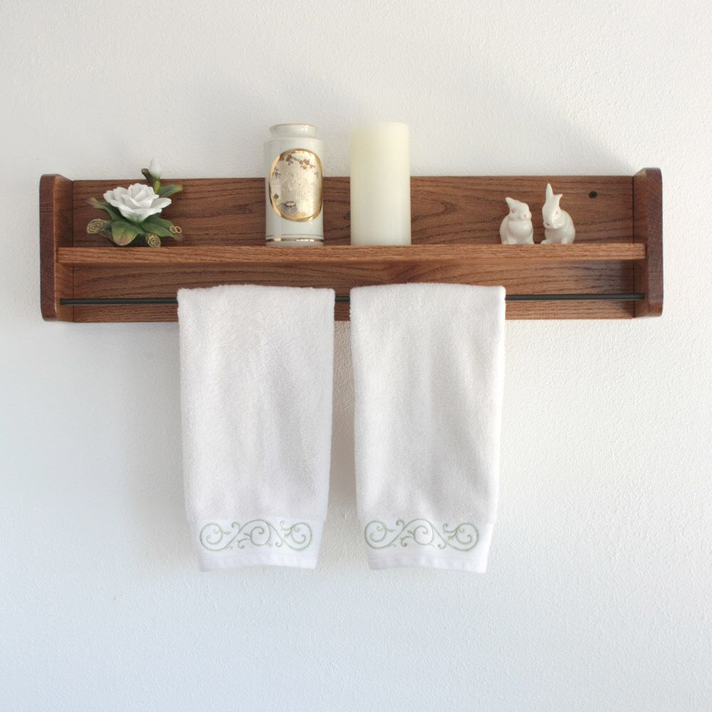 Wood Towel Rack With Shelf Towel Bar Solid Oak Wooden Towel Rack By Adlitecreations On Etsy Https Www Etsy Com Listing Towel Rack Wooden Bathroom Shelves