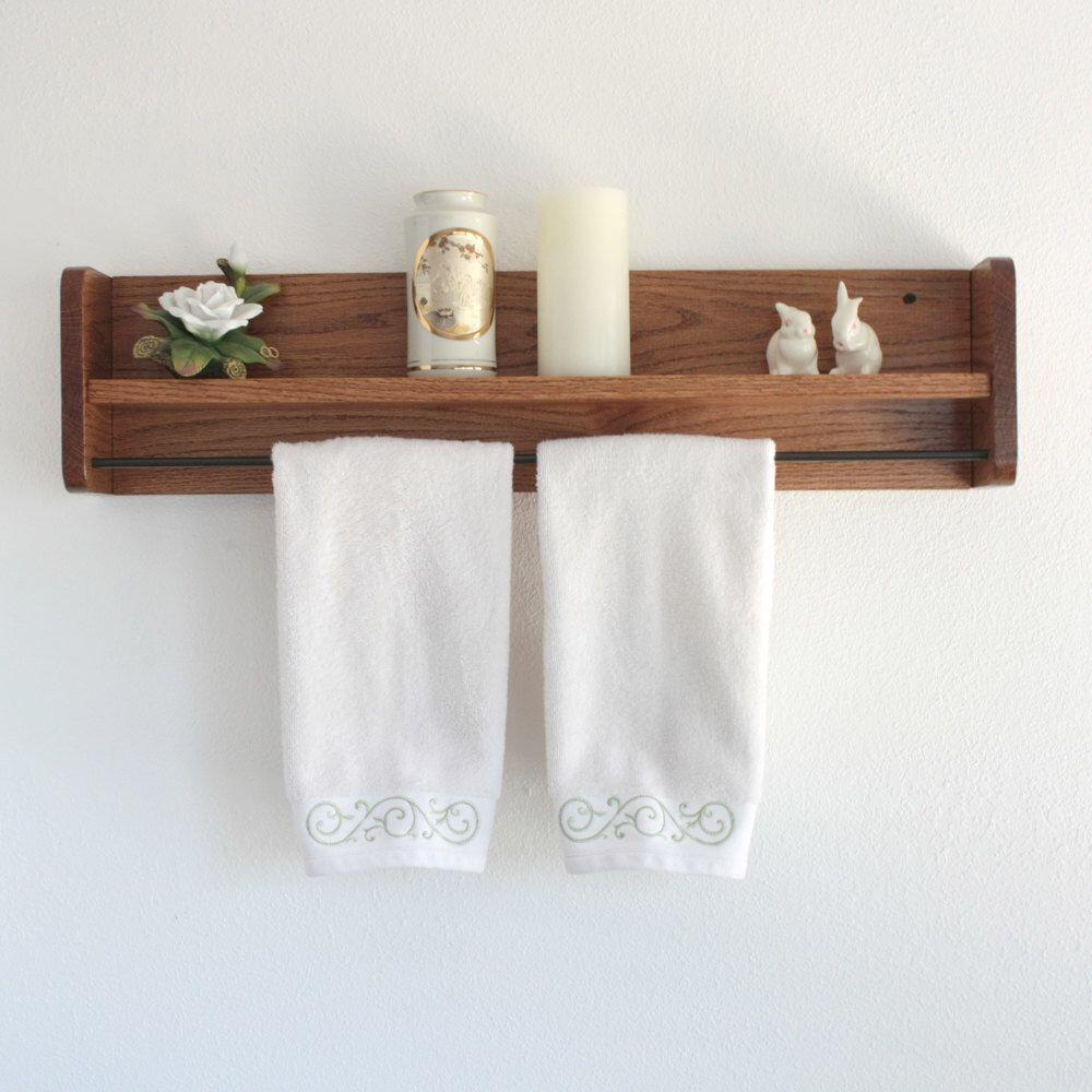 Wood Towel Rack With Shelf Towel Bar Solid Oak Wooden Towel