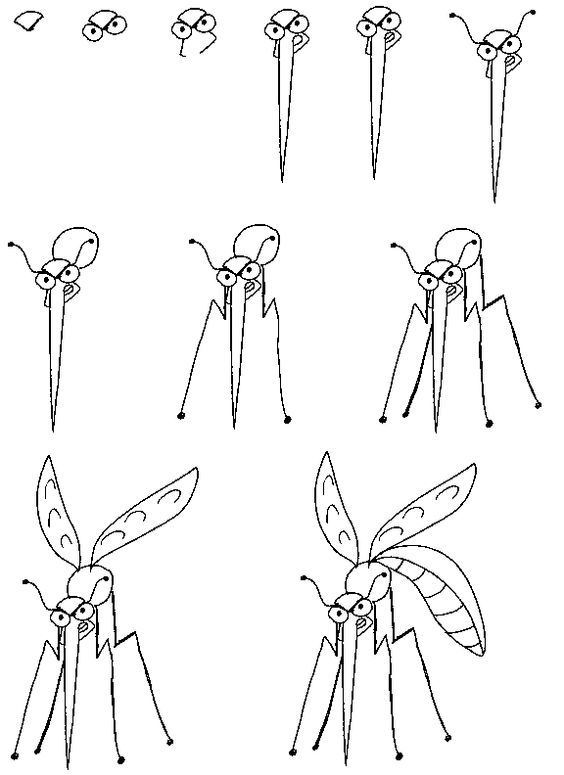 How To Draw A Mosquito Drawing For Kids Drawing Tutorials For Kids Drawing Tutorial
