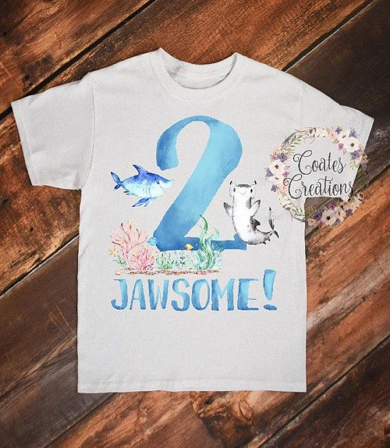 Shark Birthday Shirt 2 Boy Personalized Party Toddler Gift Tee Not Vinyl