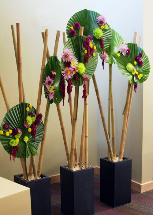 Bamboo Stick Centerpieces ~ I love circles livistonia leaves more great