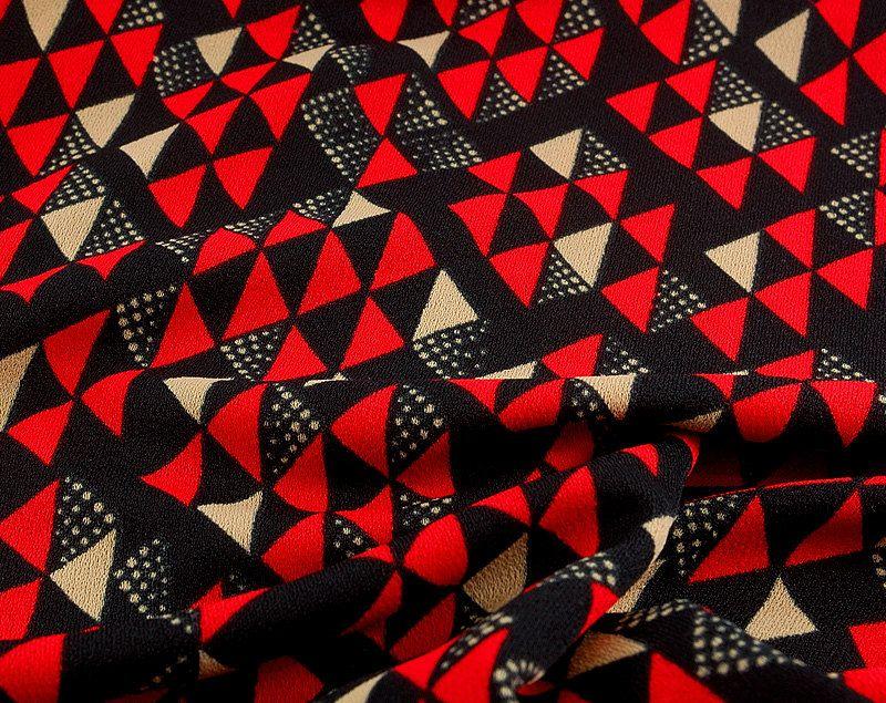 Vintage Geometric Fabric. Triangle Chevron Pattern. Eighties Punk ...