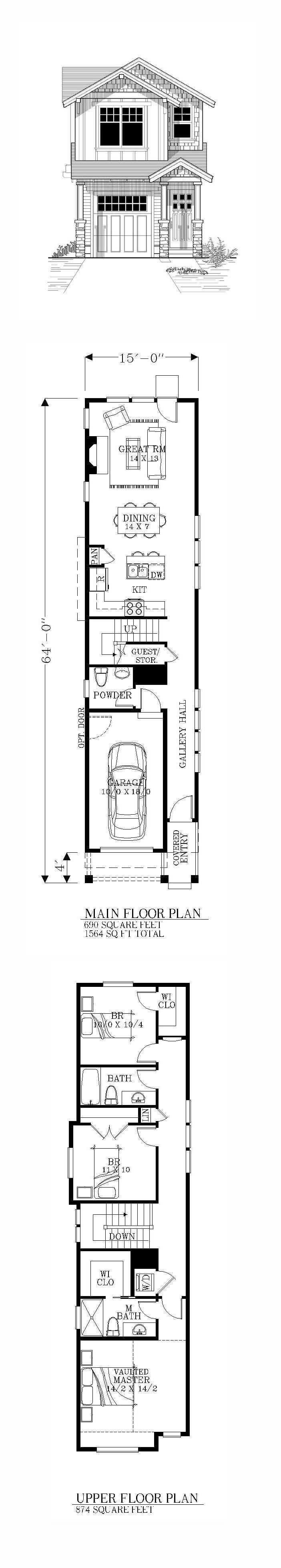 Casa super larga Garaje incluido Casas Pequeas Pinterest