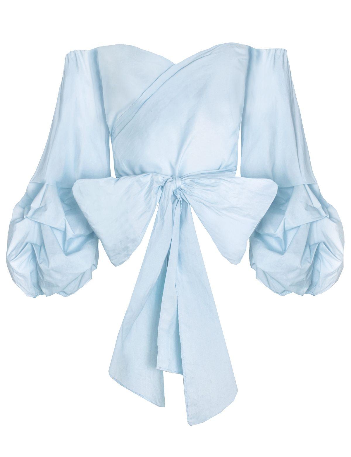 4424e3e487f322 Powder blue balloon sleeve wrap off the shoulder top . 100% cottonLength 24