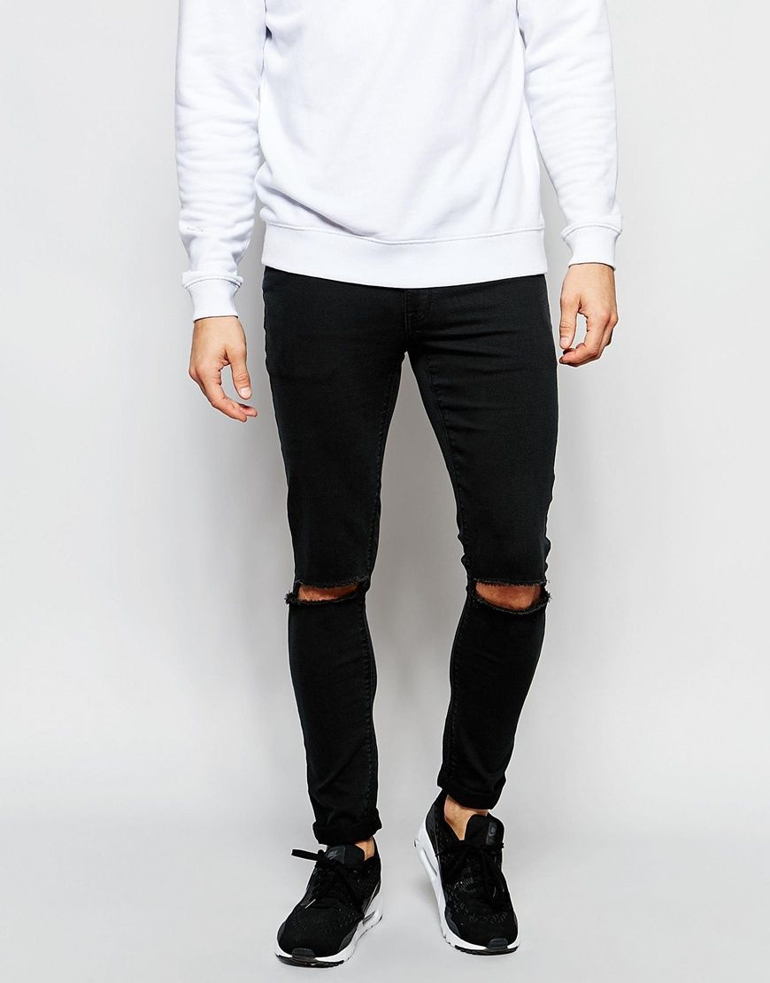 Image 1 ofASOS Extreme Super Skinny Jeans With Knee Rips In Washed Black