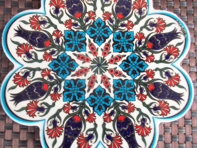 Vintage arnicea iznik turkish ceramic tile trivet with floral design vintage arnicea iznik turkish ceramic tile trivet with floral design by objetluv on etsy dailygadgetfo Choice Image