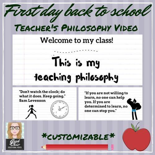 First Day Of School Teacher S Philosophy Video Kit Teaching Philosophy Back To School Teacher Critical Thinking Activities