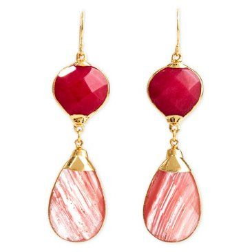 Check out this item at One Kings Lane! Raspberry Jade & Cherry Aurélie Earrings