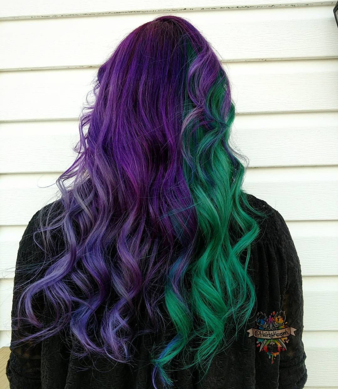 3 240 Likes 14 Comments Kasey Ohara Hairbykaseyoh On Instagram This Babe Came To Me And Said I Can T D Split Dyed Hair Split Hair Purple And Green Hair