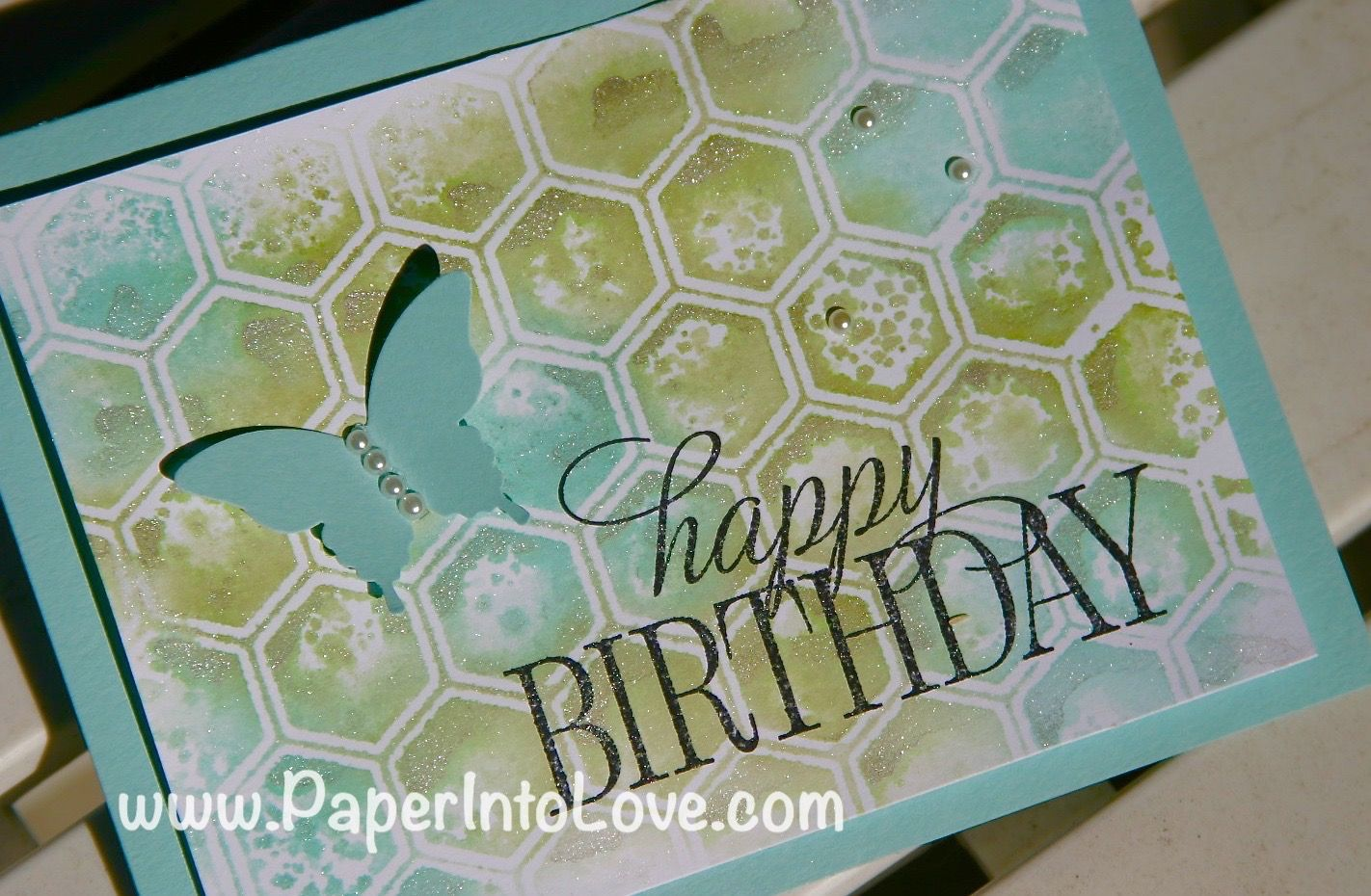 Watercolor Birthday Cards Tutorial ~ Stampin up watercolor honeycomb birthday one side of the inside