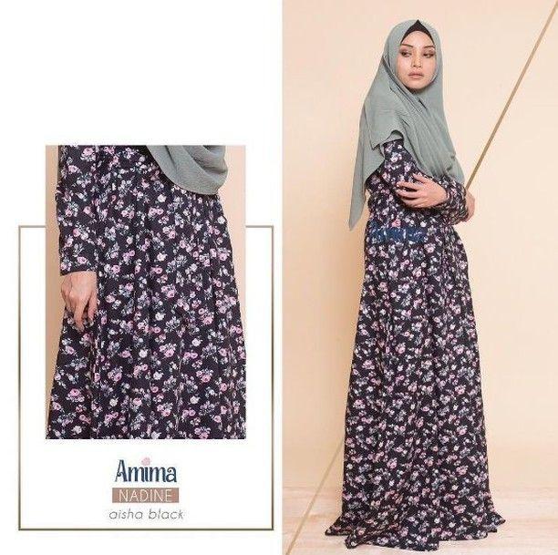gamis amima nadine dress aisha black  baju muslim wanita