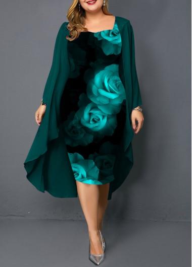 Photo of Plus Size Chiffon Cardigan and Flower Print Dress | Rotita.com – USD $35.33