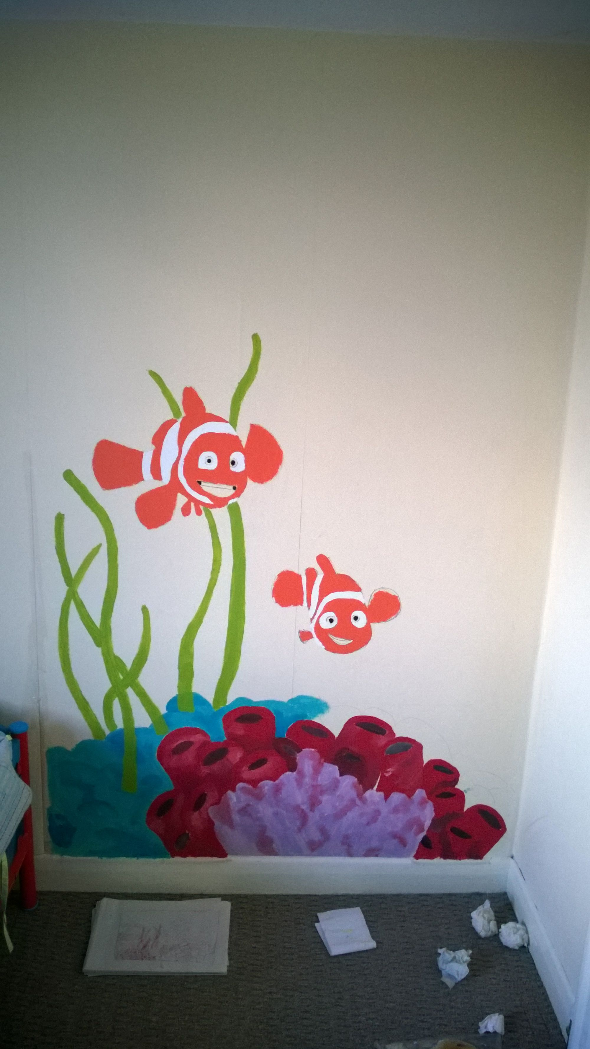 First wall mural sea themed for a close family friends grandson