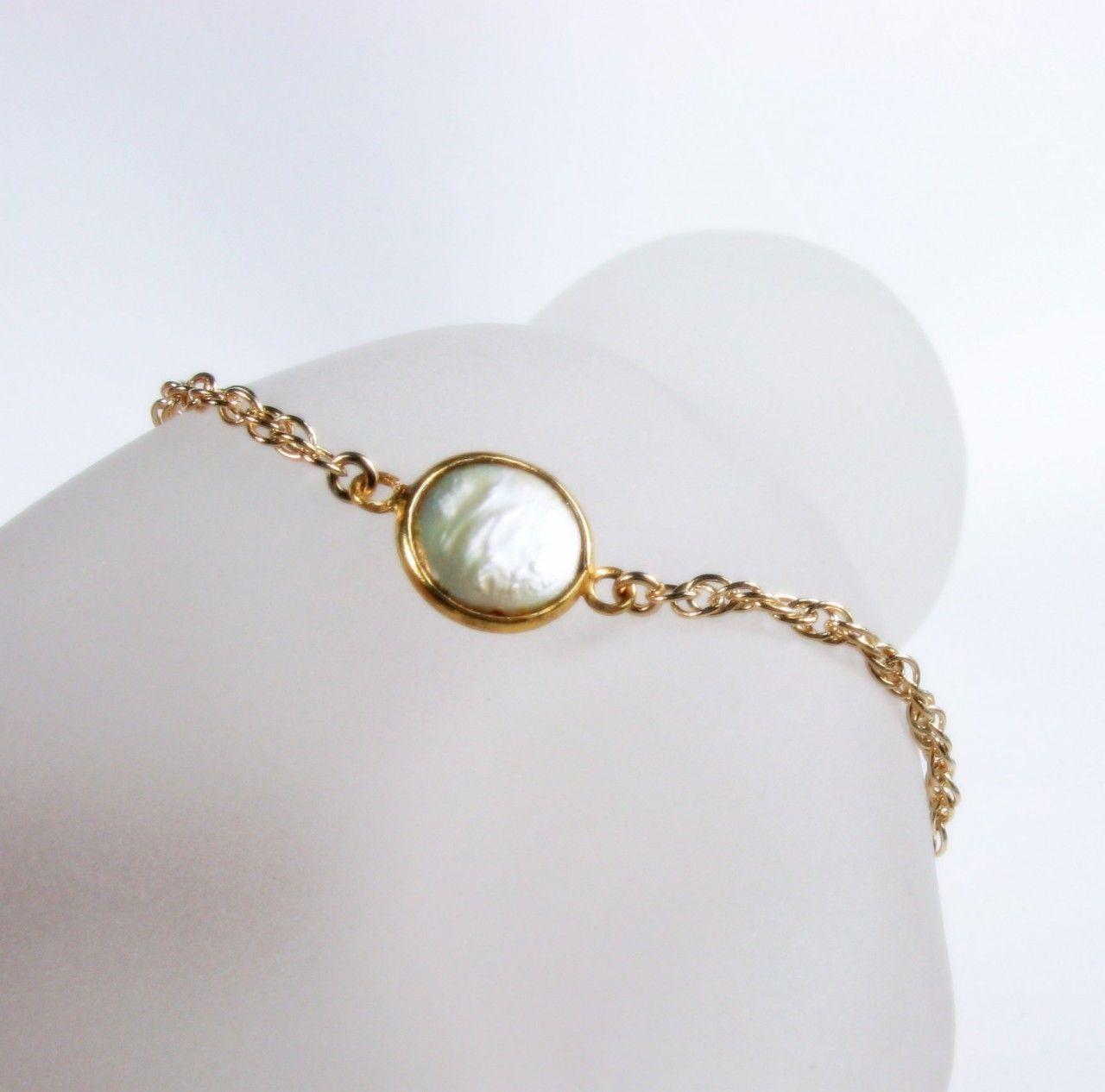 Mishelli designs freshwater pearl gold link bracelet