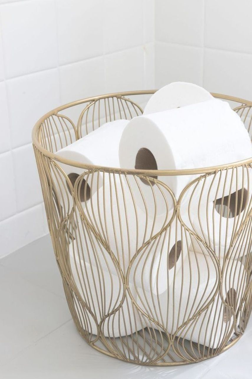 This Small Gold Wire Basket Is Perfect For Holding Extra Rolls Of Toilet Paper In The Bathroom Bathroomdecor Gold Bathroom Gold Wire Basket Driven By Decor