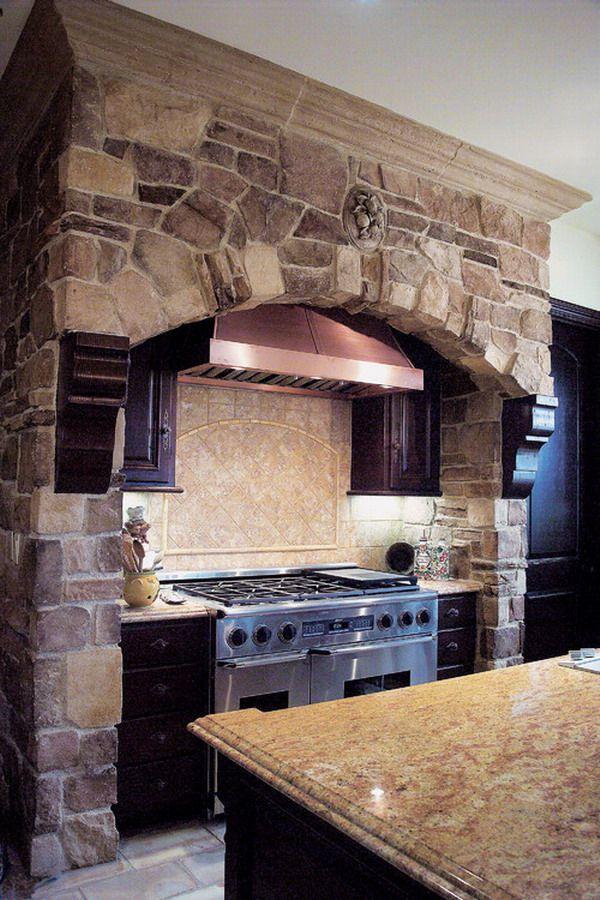 Attirant Custom Natural Stone Veneer Kitchen Wall Decoration With Wooden Corbels  Around Vent Hood.