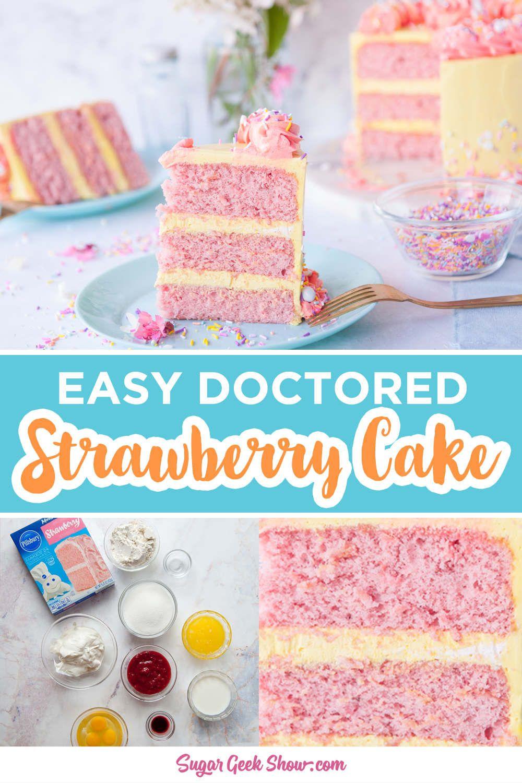 Doctored Strawberry Cake Mix Recipe In 2020 Strawberry Cake