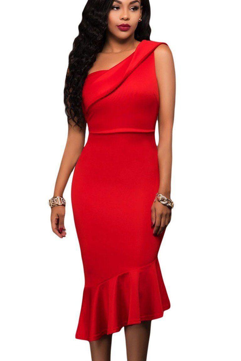 07091ebef144 Robe de Soiree Mi Longue Rouge Une Epaule Asymetrique Sirene Pas Cher  www.modebuy.com  Modebuy  Modebuy  Rouge  soldes  femme  vêtements