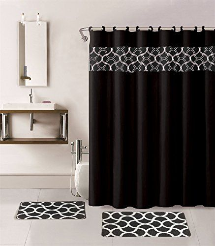 Gorgeous Home 15pc Black Geometric Design Bathroom Bath Mats Set