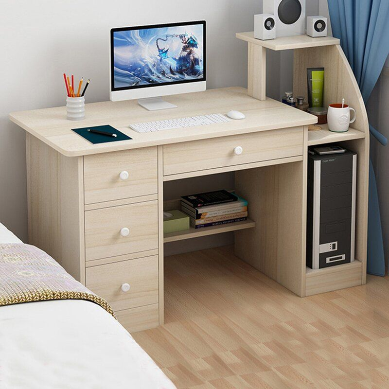 Simpleness Desk In 2021 Desk With Drawers Modern Small Desk Small Desk Computer desk for small bedroom