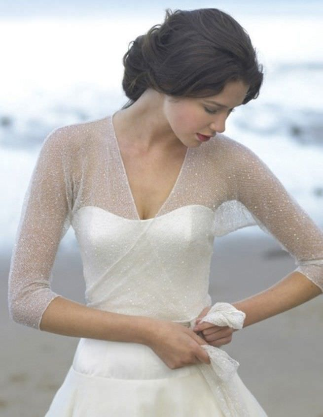 Lace cover-up short weddingdress
