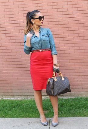red pencil skirt outfit ideas - Google Search | fabstyle ...