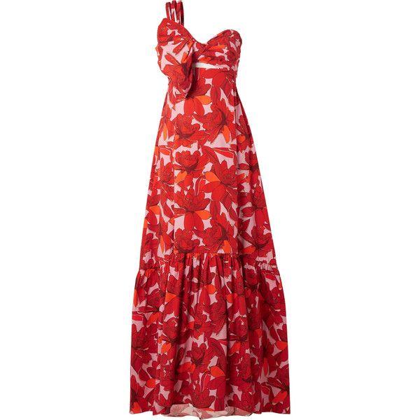 Cimarron One-shoulder Printed Cotton-blend Poplin Maxi Dress - Red Johanna Ortiz Outlet 2018 Cheap Discount Sale Sale Discount X7D5w1ke