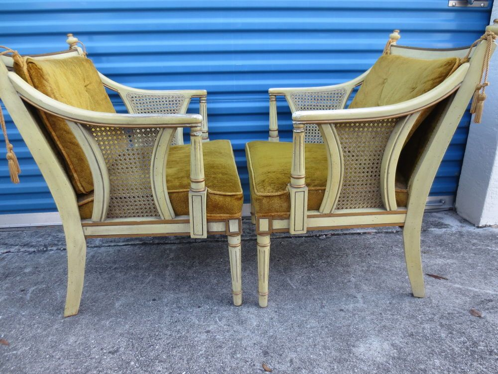 PAIR French Provincial Chairs Victorian 2 Hollywood Regency Cane Louis XVII  #HollywoodRegency
