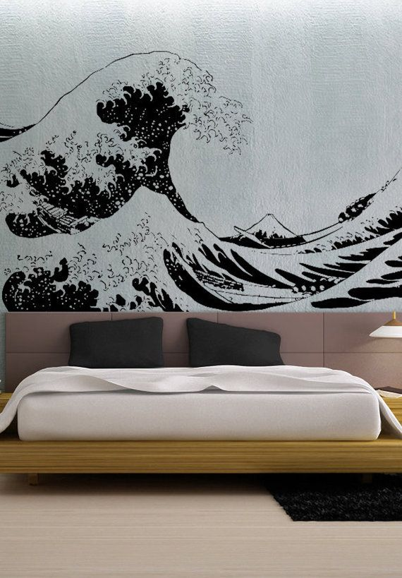 Japanese Great Wave Hokusai Large Uber Decals Wall Decal Vinyl Decor Art Sticker Removable Mural Modern 3 Want Japanese Bedroom Vinyl Decor Japanese Decor