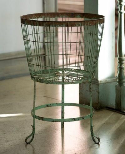 Floor Wire Metal Basket Vintage Inspired Design Measures 23 Tall 15 5 Diameter Wonderful To P Farmhouse Laundry Room Primitive Bathrooms Bushel Baskets