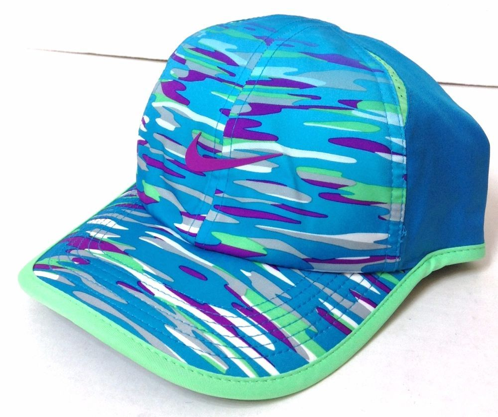 youth girls NIKE POLYESTER DRI-FIT HAT Blue/Purple Camo Swoosh Dry-Fit