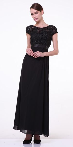 Clearance Plus Size Mother Of Groom Black Dress Long Short Sleeve