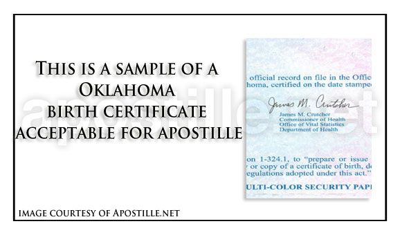 State Of Oklahoma Sample Apostille Issued In Oklahoma City
