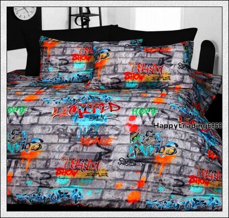 Graffiti Grey Orange Aqua Green King Queen Double Single Quilt Doona Cover Set In Home Garden Bedding Quilt Covers Ebay