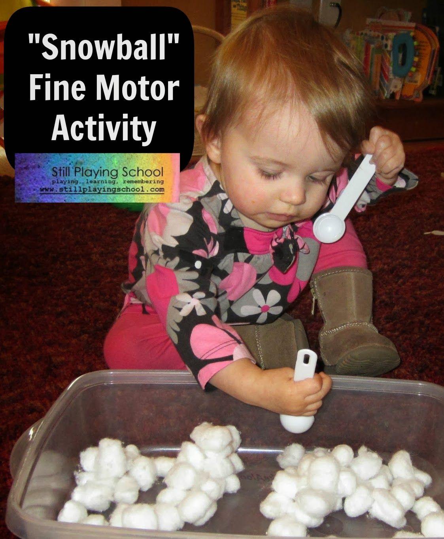 Snowball Cotton Balls Fine Motor Activity