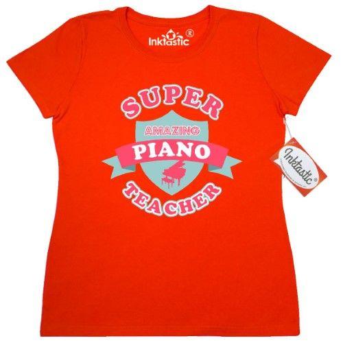 Inktastic Super Piano Teacher Women's T-Shirt Grand Instructor Music Superhero Appreciation Teaching Pinkinkartkids Specialties Occupation Clothing Apparel Tees Adult, Size: XL, Orange