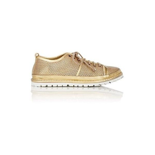 Marsèll Women's Perforated Sneakers ($249) ❤ liked on Polyvore featuring shoes, sneakers, gold, leather lace up sneakers, beige sneakers, beige shoes, low top and marsell shoes